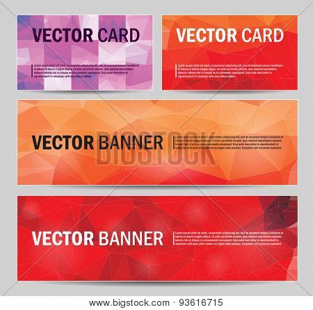 set of modern vector banners and cards with polygonal background