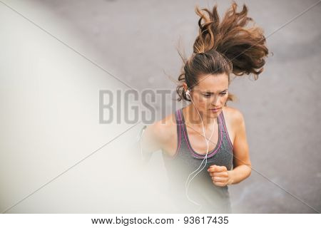 Woman Runner Seen From Above