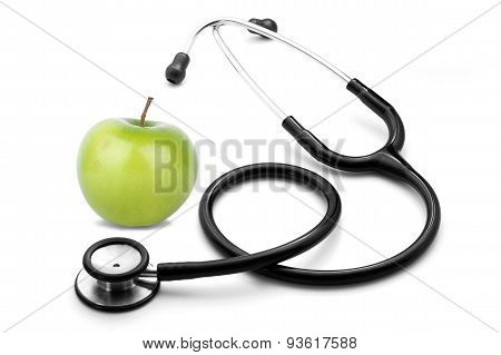 stethescope and apple on white background
