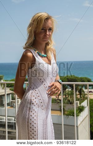 Lady In Transparent  Lace Dress