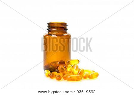 Cod Liver Oil on brown bottle on white