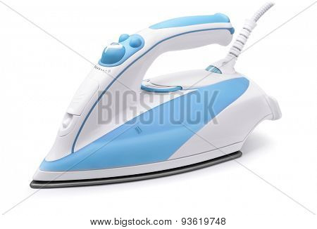 Blue steam electric iron isolated on white