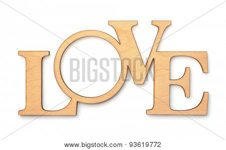Decorative wooden word LOVE isolated on white