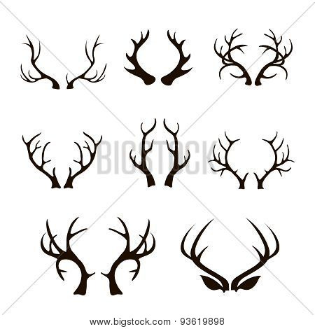 Vector deer antlers silhouette isolated on white.