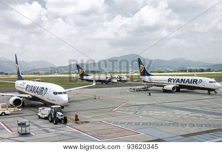 Three Ryanair Airplanes In Airport