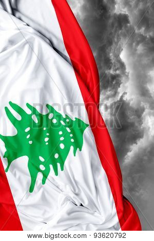Lebanese waving flag on a bad day