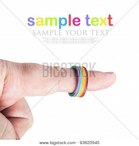 Ring Rainbow Gay On His Finger Isolated On White