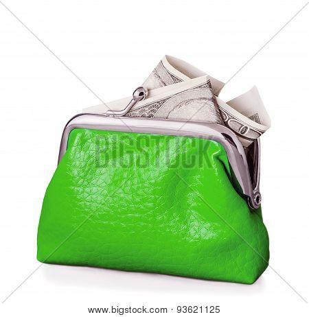 Purse With Hundred Dollars Banknote Isolated