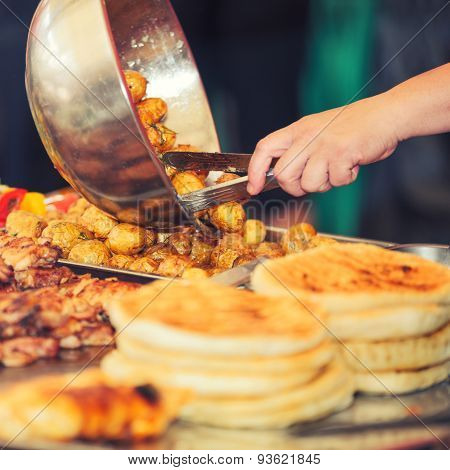 Buffet stall with food