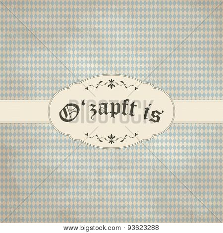 Vintage Background With Oktoberfest Pattern And Patch O'zapft Is