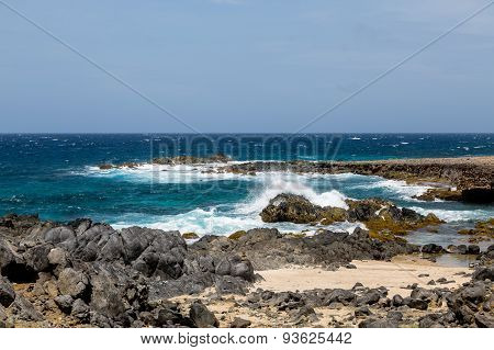 Crashing Surf On Black Coral