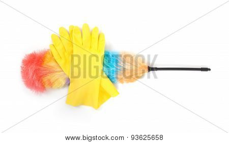Yellow Cleaning Gloves With A Duster
