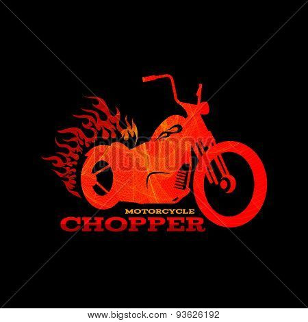 Red orange motorcycle chopper logo is line blend art style