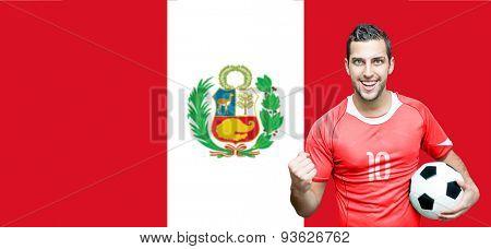 Peruvian fan celebrates on Peru flag background