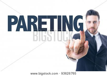 Business man pointing the text: Parenting
