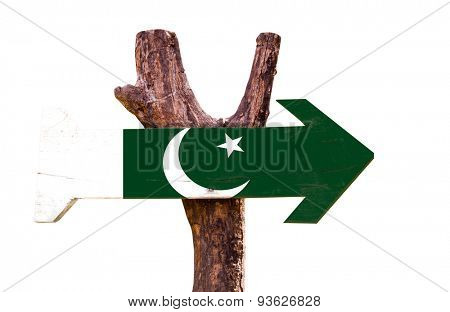 Pakistan Flag wooden sign isolated on white background