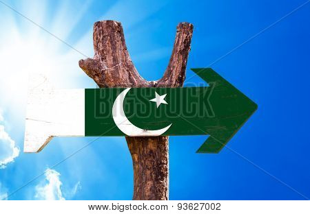 Pakistan Flag wooden sign with a beautiful day