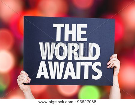 The Worlds Awaits card with bokeh background