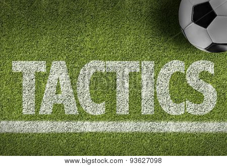 Soccer field with the text: Tactics