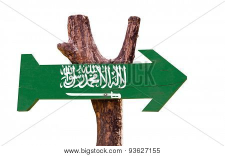 Saudi Arabia flag wooden sign isolated on white background