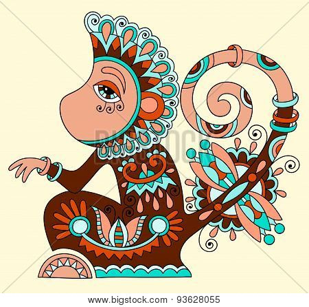 line art drawing of ethnic monkey in decorative ukrainian style