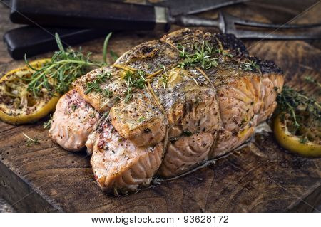 Salmon Filet on an old rustic Cutting Board