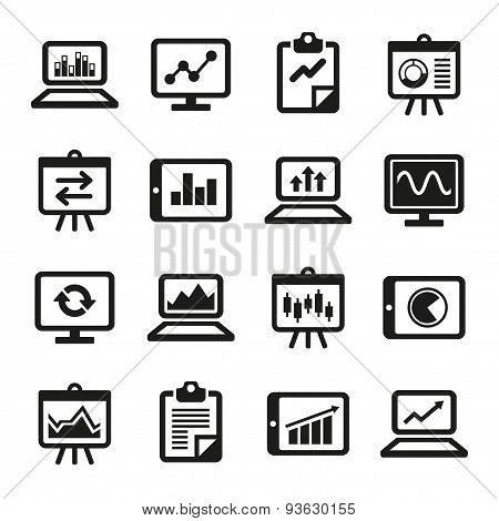 Simple Diagram and Graphs Icons Set. Vector