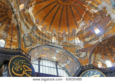 Dome And Windows Of Saint Sophia Basilica, Istanbul, Turkey