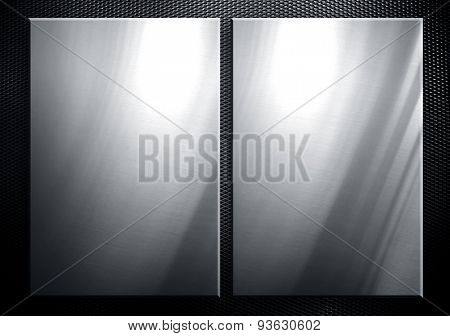metal plate on metal mesh background