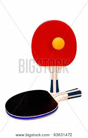 Pair Of Ping-pong Rackets And Orange Ball On White Isolated Background With Clipping Path.