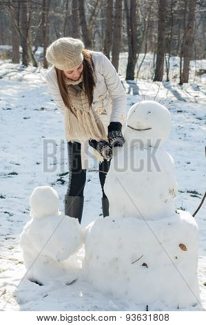 Winter Happy Woman And Snowman