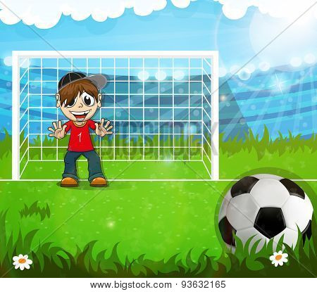 Goalkeeper Is Waiting For Hitting The Ball