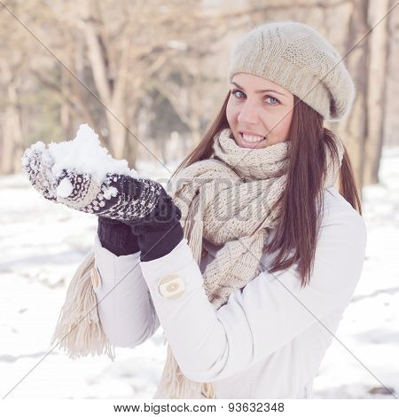 Happy Beautiful Winter Woman