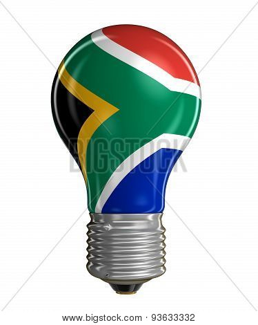 Light bulb with flag of South African republic (clipping path included)