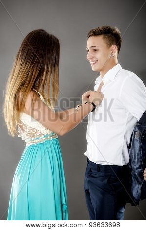 Young couple of business people in a relationship