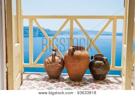 Decorative Jugs On The Balcony