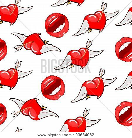 Seamless Background Bright Red Lips With Flying Hearts. Vector B