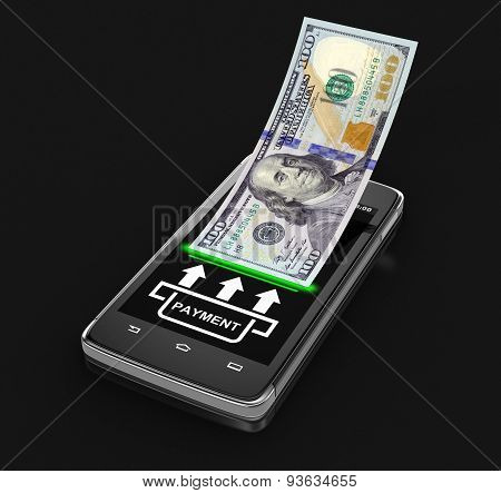 Touchscreen smartphone with dollar (clipping path included)