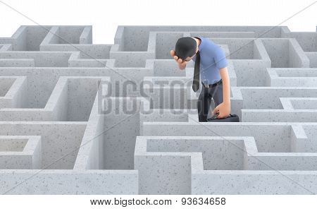 Depressed Businessman Standing In The Middle Of A Maze. Isolated. Contains Clipping Path