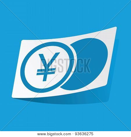 Yen coin sticker