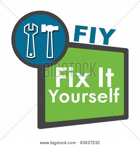 FIY - Fix It Yourself Blue Green Circle Square