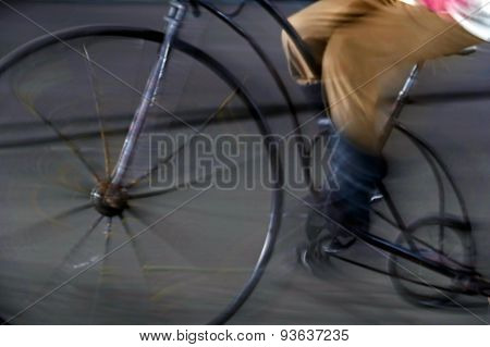 Bike Man, With One Old Bike, On Blurred Background