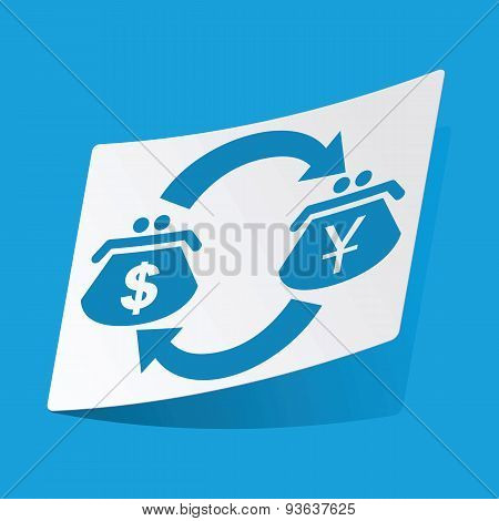Dollar-yen exchange sticker