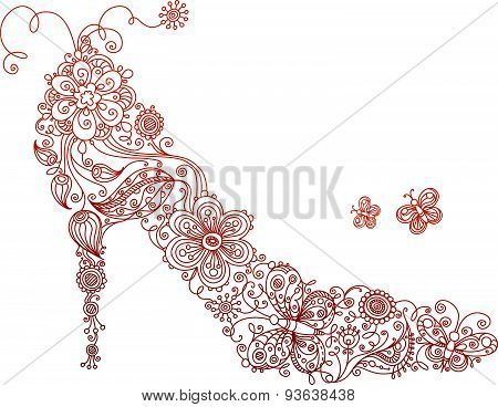 Abstract Red Shoe With Flowers And Butterflies.