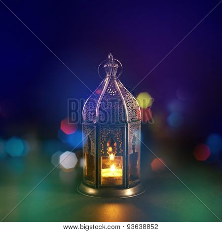 Classic Ramadan light with creative lighting blur effect. Islamic festival background design.