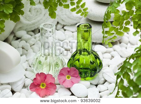 bottles with fragrance of primrose flowers
