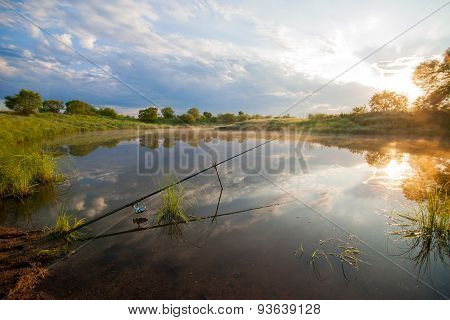 Fishing Tackle In A Pond