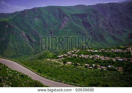 Summer mountain road, settlement, Armenia, Tatev
