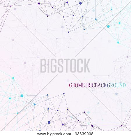 Colorful graphic background dots with connections for your design. Vector illustration