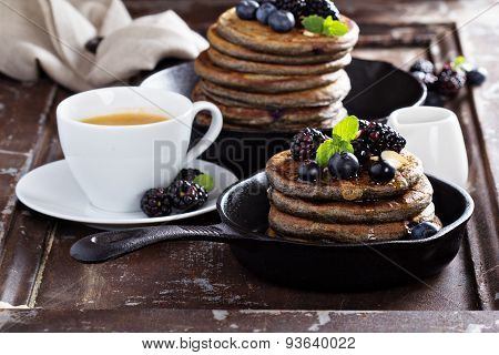 Blueberry pancakes with buckwheat flour
